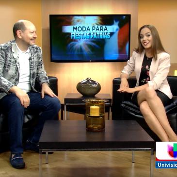 Clara Trullenque presentando el segmento de moda Noticiero Primera Edición Texas